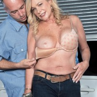 Over Fifty golden-haired Lauren Taylor has her giant titties and rump uncovered by while in a garage