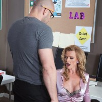 Over Fifty fair-haired MILF educator Amanda Verhooks caught providing blowjob in classroom