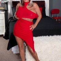 Over 50 MILF Sally D'Angelo having gigantic boobies freed from dress by younger boy