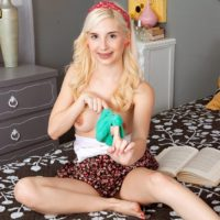 Smallish golden-haired teenager Piper Perri flashes her underwear before extracting her tiny breasts