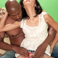 Little granny Sahara Blue has her wooly coochie finger-tickled by a ebony guy