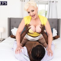 Platinum fair-haired grandmother Seka Ebony bj's off a younger man's gigantic ebony penis