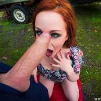Redhead MILF Ella Hughes taking rock hard anal screwing in woods from large cock