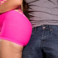 Foxy Latina MILF Samantha Bell seducing man at bar with her hefty butt