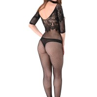 Solo model Mikki works clear of a crotchless bodystocking in back stiletto high heels