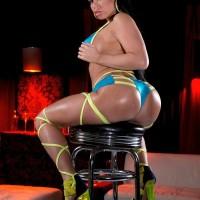 Fatty black solo chick Nikki Delano showcasing wondrous derriere before unleashing hefty titties