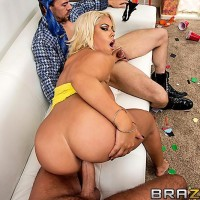 Huge boobed Latina MILF Bridgette B boinking TWO guys with giant hard-ons at same time