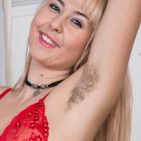 Super-cute European platinum-blonde Aali Rousseau revealing fur covered rosy cunny beneath panties
