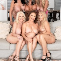 Sixty plus MILF Mia Magnusson gathers her wives for an girl/girl fuckfest