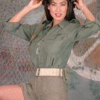 Asian solo model Minka pulls out her massive boobs from her bras army fatigues