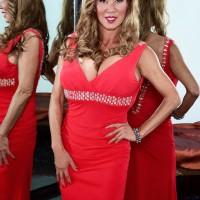 Oriental solo model Minka looses her hefty titties from a crimson sundress afore a mirror