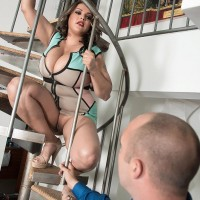 BIG HOT LADY Cat Bangles flashing no panty upskirt on stairs before loosing giant tits
