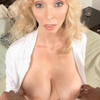 Huge titted blonde grandma Ophelia Vixxxen pleasures the immense black cock of a younger dude