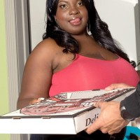 Black BIG BEAUTIFUL WOMAN Diamond Knights unveiling gigantic breasts while gobbling pizza and gobbling dick
