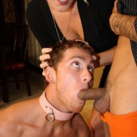 Fair-haired mistress Ashley Edmunds has her sub spouse blow another man's dick before she pulverizes him