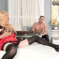 Blond Nan Charlie entices a younger dude in lingerie and ebony pantyhose