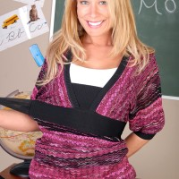 Yellow-haired teacher revealing giant natural boobs and bare derriere in classroom