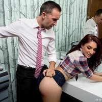 Brown-haired MILF Mischa Brooks getting buttocks screwed by immense penis in bathroom after providing ORAL SEX