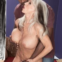 Huge-boobed Sixty plus XXX flick starlet Sally D'Angelo gets boinked by a junior ebony boy