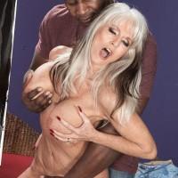 Huge-boobed Sixty plus XXX flick starlet Sally D'Angelo gets boinked by a junior ebony boy
