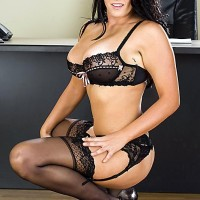 Chesty dark-haired MILF Mackenzee Pierce fucking TWO rods at same time in work environment