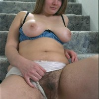 Huge-chested European first-timer displaying fur covered underarms and slit in the naked
