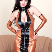 Dark-haired stunner Sha Rizel flashing no panty upskirt in spandex sundress and high-heeled shoes