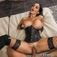 Black-haired female Ava Addams breasts screws and fellates a penis after a stiff ass fucking
