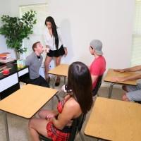 Brunette professor Jamie Valentine makes her students get naked during sex ed class