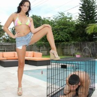 Brunette mistress Adriana Lily pegs her sissy over a dog cage on poolside patio