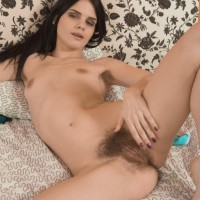 European amateur Gerda May revealing furry underarms and spread cunt