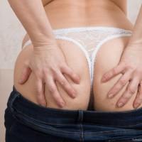 Euro first timer Yulenka Moore touting unshaven vag underneath milky panties