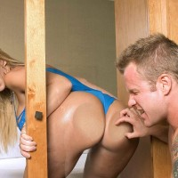 Notorious XXX star Sara Jay entices a dude with her massive tush and clean-shaven cooch