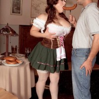 Plus size girl Brandy Ryder unveiling melons before sucking and riding penis