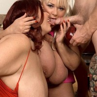 Overweight dolls Shugar and Peaches LaRue giving lengthy penis oral jobs while tonguing food