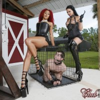 Fabulous honeys Daisy Ducati and Raven Bay dominate masculine submissives during outdoor act