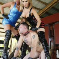 Mind-blowing dommes Virgin Morgan and Kylie Rogue use a masculine sub as bench to sit upon