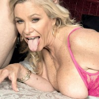 Wondrous elder lady Lauren Taylor tempts a younger man in a pinkish microskirt