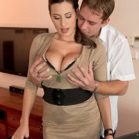 Seductive MILF Sensual Jane breast plows a man after shooting pool in black stockings