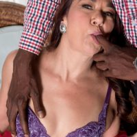 Super-sexy senior doll Renee Ebony peels off her lingerie for a black stud