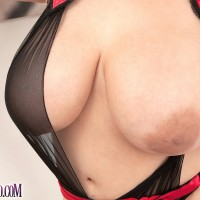 Latina solo model Daylene Rio loose her melons and shaved honeypot from her lingerie