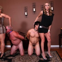 Gangly damsels Cadence Lux and Brianna boink slave studs with strapon rods