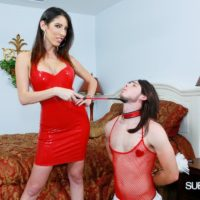 Spindly girlfriend Dava Foxx has her crossdressing sissy worship her feet in a red sundress