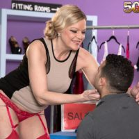 Elder platinum-blonde woman Lena Lewis seduces her youthfull paramour in pantyhose and garters