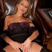 Aged MILF with blonde hair exposes her hard titties and slit in her home office