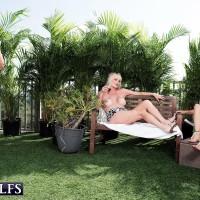 Older gal Rita Daniels and her gf tempt and blow off a junior man