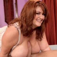 Plus-sized red-haired Jade Parker covering knockers with chocolate sauce while giving BLOW-JOB