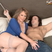 Elder light-haired dame Catrina Costa taunts her roped up lover in hosiery and pumps