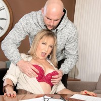 Over 60 tutor Luna Azul tempts a masculine student in her office