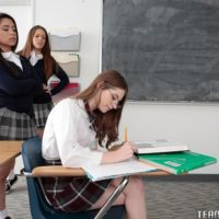Teenage dykes Alice Drea and Jenna energy schoolgirl into all chick 3some in classroom